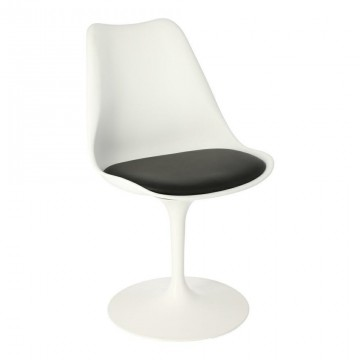 D2.DESIGN Krzesło Tulip Basic białe/czarna poduszk a