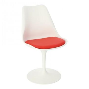 D2.DESIGN Krzesło Tulip Basic białe/czerwo na poduszka