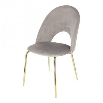 INTESI Krzesło Solie Velvet szare/złote