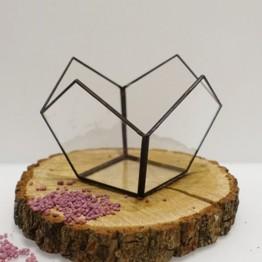 HEBITO Doniczka geometryczna, szklana, świecznik  - Kwiat 1