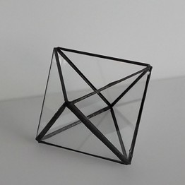 HEBITO Doniczka geometryczna, szklana, świecznik  - Oktaedr