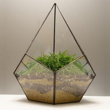 HEBITO Doniczka geometryczna, szklana, świecznik  - Kropla