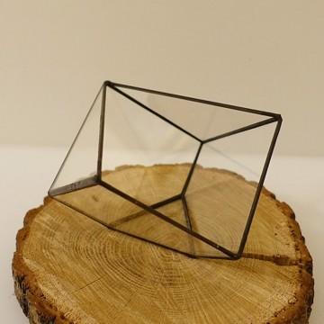 HEBITO Doniczka geometryczna, szklana, świecznik  - Sześcian 3