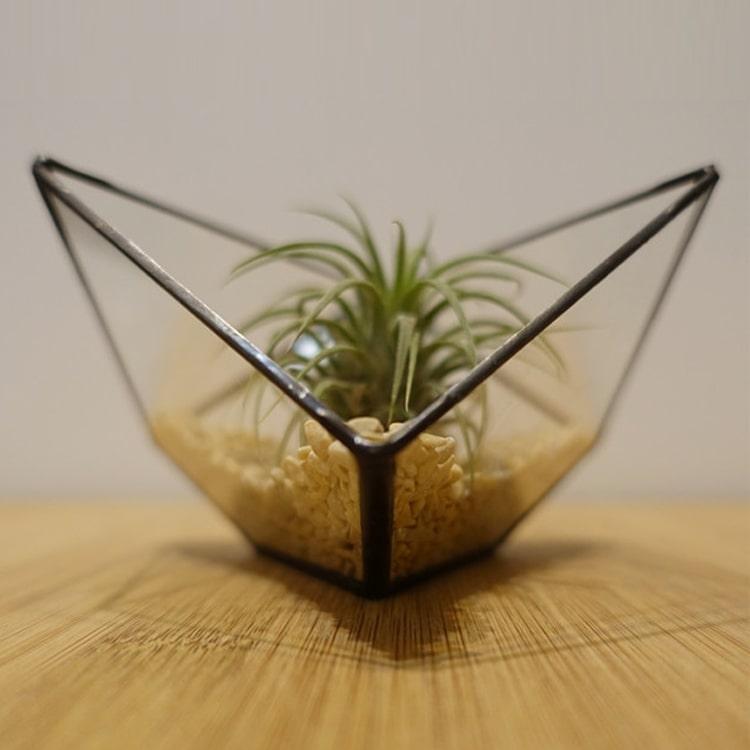 Hebito Doniczka Geometryczna Szklana świecznik Sześcian 3