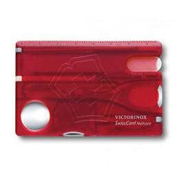 VICTORINOX Karta SwissCard Nailcare - Czerwony transparentny 0.7240.T