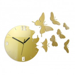 Zegar ścienny MOTYLE Deluxe - Metalic ZŁOTO