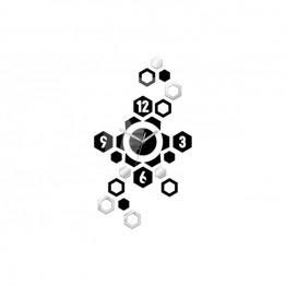 Zegar ścienny Geometria HEXAGON - Czarny i srebrny