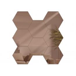 Lustro modułowe HEXAGON / Plaster miodu - Miedź / Brąz - 8 sztuk