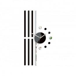 Zegar ścienny Geometria LINIE - Czarny i srebrny
