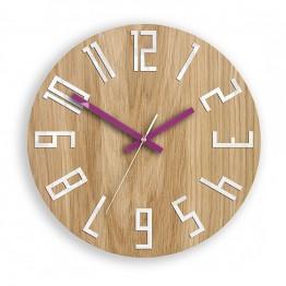 Zegar ścienny WOOD COLOR - Fioletowy