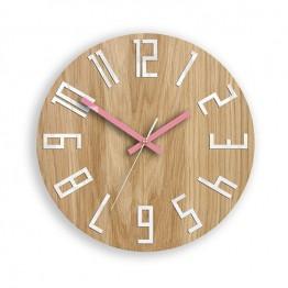 Zegar ścienny WOOD COLOR - Różowy
