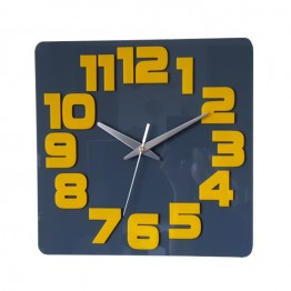 Zegar ścienny COMIC - Szary / żółty