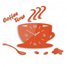 Zegar ścienny COFFEE TIME 3D - Pomarańczowy