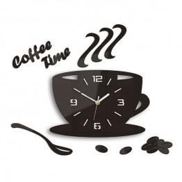 Zegar ścienny COFFEE TIME 3D - Wenge