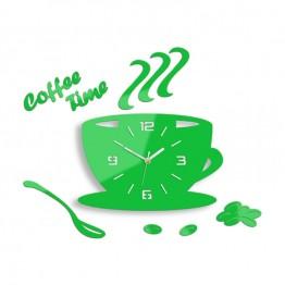 Zegar ścienny COFFEE TIME 3D - Zielony