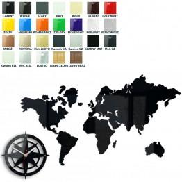 Zegar ścienny MAPA ŚWIATA - Różne kolory