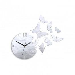 Zegar ścienny MOTYLE Deluxe - Perłowy SZARY