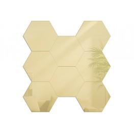 Lustro modułowe HEXAGON / Plaster miodu - Złoto - 8 sztuk