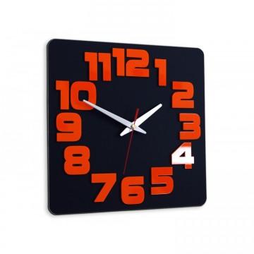 Zegar ścienny COMIC - Czarny / pomarańczowy