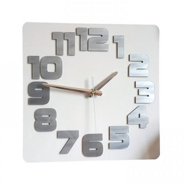 Zegar ścienny COMIC - Biały / szary perłowy