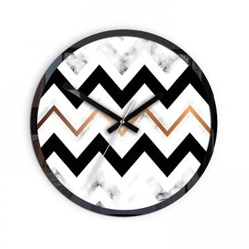 Zegar ścienny ZYGZAK MARMUR Czarno-Biały