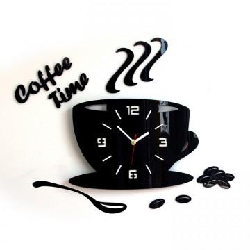 Zegar ścienny COFFEE TIME  3D - Czarny